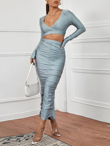 Plunging Neck Crop Top & Ruched Slim Fit Skirt
