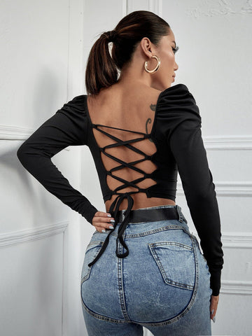 Square Neck Lace Up Backless Puff Sleeve Slim Fit Top