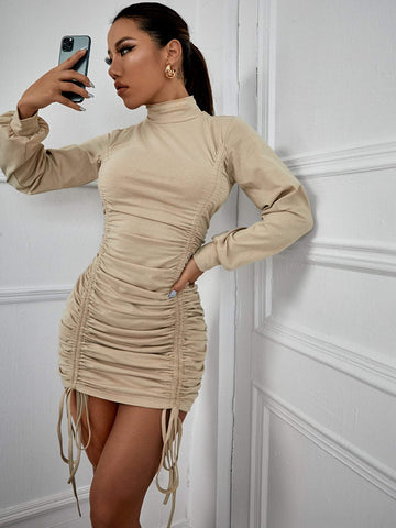 High Neck Drawstring Front Slim Fit Mini Dress
