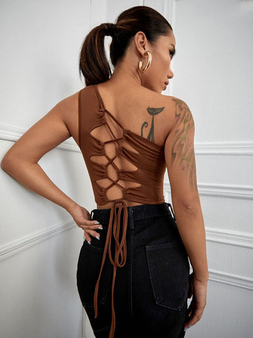 Sleeveless One Shoulder Lace Up Backless Slim Fit Top