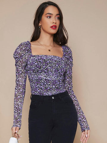 Square Neck Gigot Sleeve Ditsy Floral Slim Fit Top
