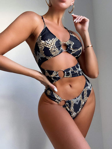 Snakeskin Cut-out Ring Linked One Piece Swimsuit
