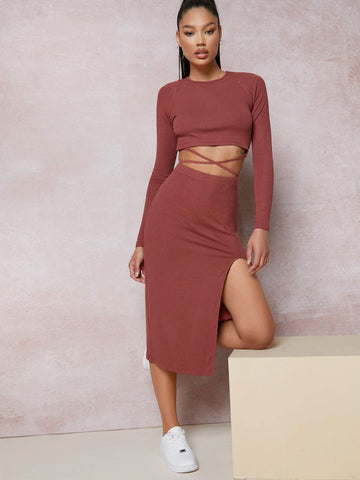Round Neck Crisscross Tie Back Top and Split Thigh Skirt Set