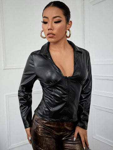 PU Leather Solid Zip Up Slim Fit Jacket
