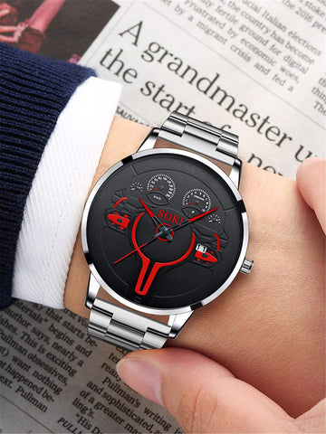 Stainless Steel Strap Round Pointer Date Quartz Watch
