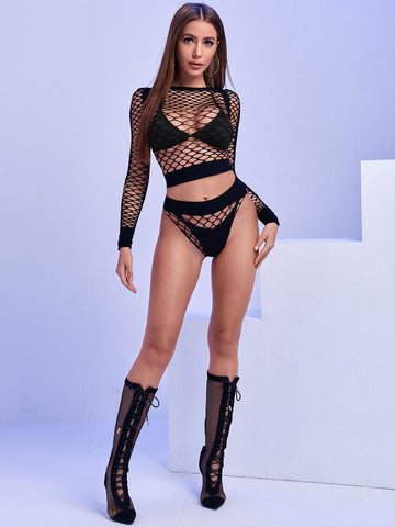 Fishnet Cut-out Sexy Set Without Bra and Thong