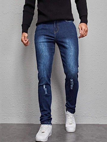 Ripped Dark Washed Zipper Denim Jeans