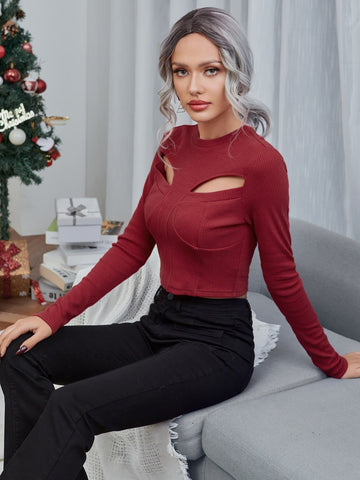 Burgundy Round Neck Rib-knit Slim Fit Cut Out Crop Top