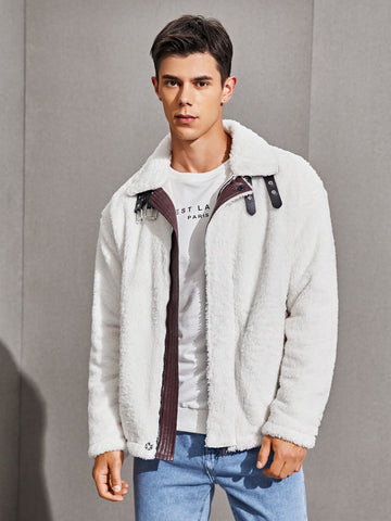 White Drop Shoulder Buckle Strap Zip Up Teddy Jacket