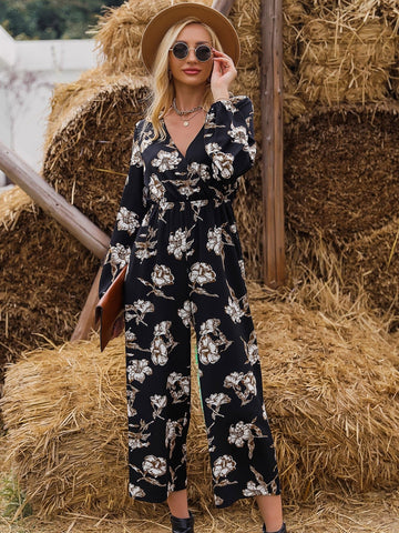 V-Neck High Waist Flower Print Cut Out Back Jumpsuit
