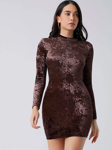Stand Collar Mock-neck Velvet Slim Fit Dress