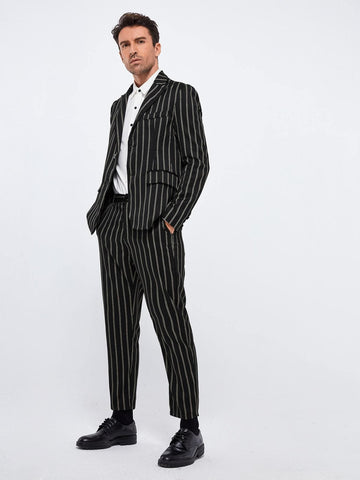 Black Peak Collar Striped Blazer and Tailored Trousers Set
