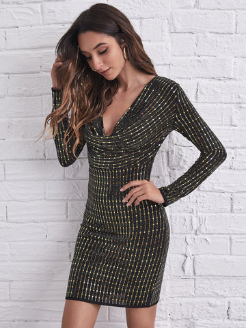 Cowl Neck Sequin High Waist Slim Fit Dress