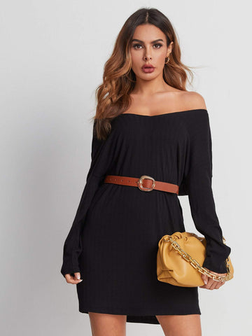 0aOff Shoulder Rib-knit Short Dress