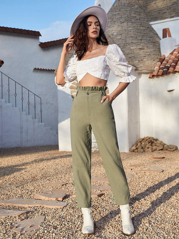Paperbag High Waist Straight Leg Pants