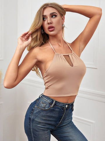 Cut-out Halterneck Tie Back Slim Fit Crop Top