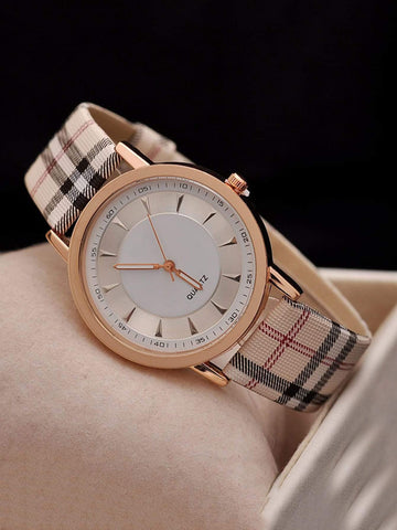 PU Leather Plaid Strap Round Pointer Quartz Watch