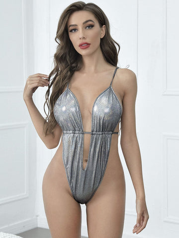 Grey Metallic PU Plunge Teddy Bodysuit