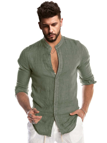 Stand Neck Button Up Long Sleeve Shirt