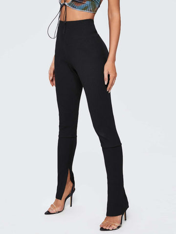 Black Split Cuff Rib-knit Skinny High Elastic Waist Pants