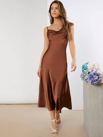 Cowl Neck Sleeveless Satin Flared Hem Dress
