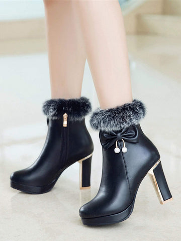 Bow Rhinestone Decor Fluffy Trim Round Toe Ankle Boots