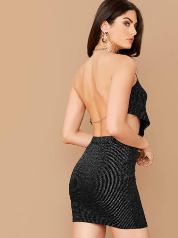 Cowl Neck Backless Glitter Top And Slim Fit Skirt Set