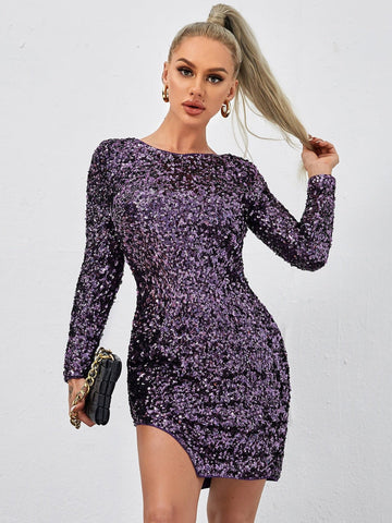 Purple Round Neck Zipper Back Split Hem Sequin Slim Fit Dress