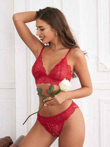 Red Romantic Floral Lace Lingerie Set