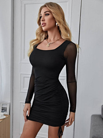 Black Round Neck Sheer Mesh Sleeve Ruched Drawstring Dress