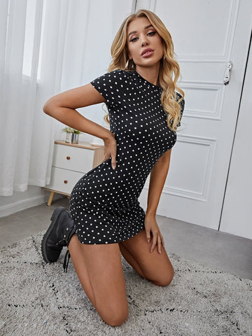 Round Neck Polka Dot Slim Fit Dress