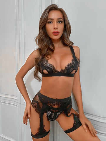 Floral Lace Sheer Garter Lingerie Set
