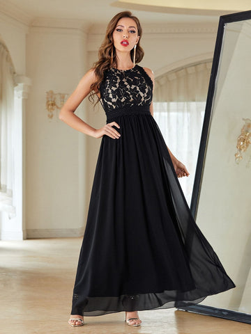 Round Neck Contrast Lace Sleeveless Chiffon Prom Dress