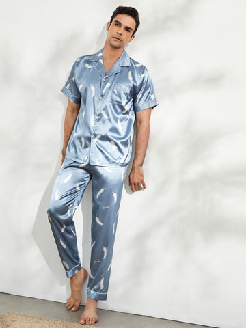 Dusty Blue Feather Print Button Front Contrast Binding Satin Pyjama Sleepwear Set