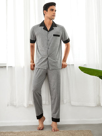 Short Sleeve Contrast Panel Button Front Pyjama Sleepwear Set