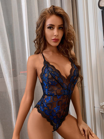 Romantic Scallop Sheer Floral Lace Teddy Bodysuit