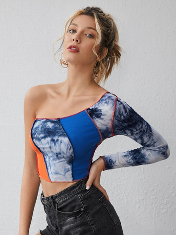 One Shoulder Seam Front Colorblock Slim Fit Crop Top
