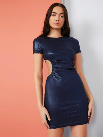 Round Neck Ruched Cutout Waist Metallic Slim Fit Dress