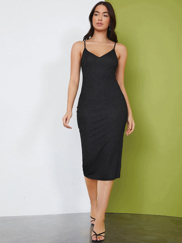 Spaghetti Strap Sleeveless Rib-knit Solid Slim Fit Dress