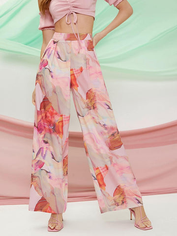 Satin Marble Tie-Dye Wash High Waist Flare Pants