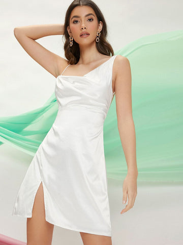 Asymmetrical Neck Sleeveless Satin Open-Back Slit Mini Dress