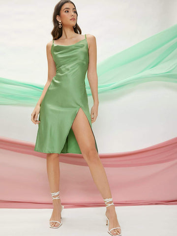 Spaghetti Strap Sleeveless Satin Cowl Neck Thigh-Slit Cami Dress