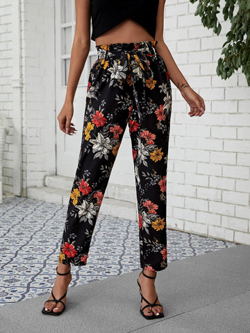 Paperbag High Waist Self Belted Floral Cropped Pants