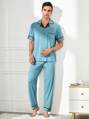 Contrast Binding Lapel Collar Button Front Pocket Patched Pyjama Sleepwear Set