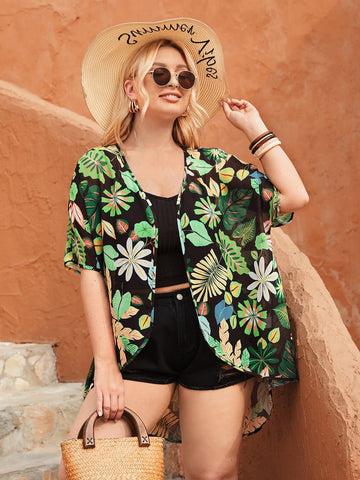 Plus Tropical Print Batwing Sleeve Short Kimono