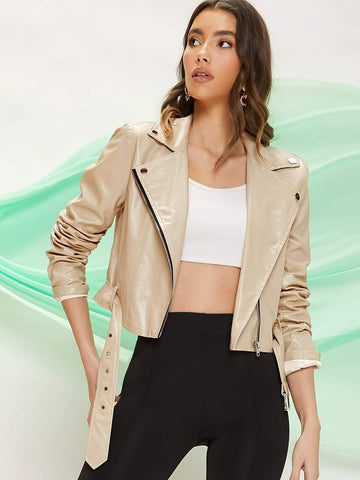 Belted Button Front Faux Leather Cropped Moto Jacket