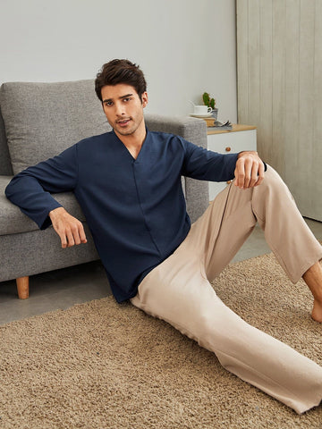 Solid V-neck Shirt and Trousers Pyjama Sleepwear Set