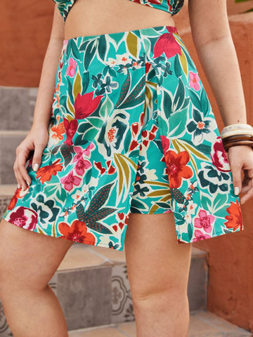 Plus Split Hem Floral Print Short Zipper Skirt