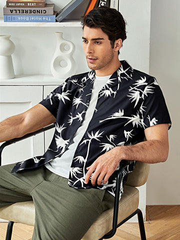 Black Button Front Plants Print Shirt