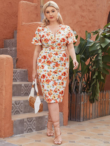 Plus Floral Surplice Neck Tie Back Short Sleeve Wrap Top and Skirt Set
